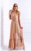 Елегантна бежова рокля в две части
