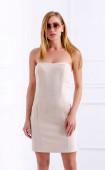 Къса бежова рокля бюстие
