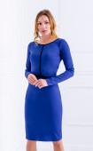 Елегантна вталена синя рокля със средна дължина Comfort