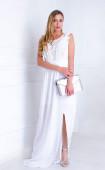 Дълга официална бяла вечерна рокля Precioza