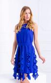 Синя рокля с шифонени воланчета