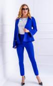Синьо елегантно сако с волан ръкав