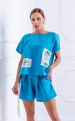 Летен спортен комплект блуза и къси панталонки Turquoise