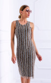 Вталена лятна рокля от мрежа на райе