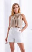 White Short Elegant Side Pockets Regular fit Silhouette Decorative Buttons in Gold Elastic Waist Pants