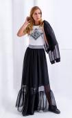 Дълга черна разкроена шифонена пола с волан