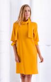 Елегантна рокля в цвят горчица с аксесоар шал