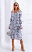 Дълга памучна рокля в синьо и бяло с дълъг ръкав Santorini