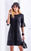 Черна елегантна рокля с джобове и ефектен ръкав