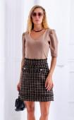 Кафява блуза с 3/4 ръкав с набор