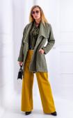 Зелено палто без закопчаване