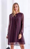 Асиметрична шифонена рокля на точки