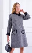 Есенна рокля в сиво каре с якичка и джобове