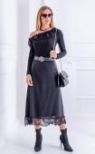 Елегантна черна дълга разкроена пола с дантела