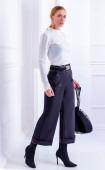 Черен широк 7/8 панталон с джобове