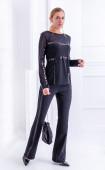 Елегантен черен панталон чарлстон с кант пайети