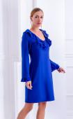 Стилна синя рокля с къдри от жоржет