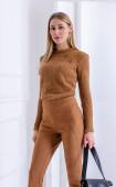 Блуза от плетиво цвят камел