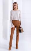 Втален панталон в кафяво от велур