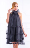 Formal black tulle dress