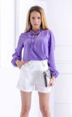 Лятна лилава блуза от жоржет с дълъг ръкав