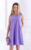 Елегантна разкорена рокля Violet flowers