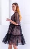 Елегантна черна рокля от мрежа и подплата Heart