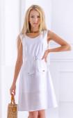 Бяла ленена рокля с подвижен колан