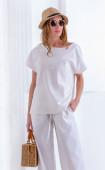 Бяла ленена блузка с къси ръкави