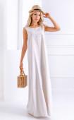 Лятна дълга ленена рокля с декорация Sunrise