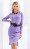 Лилава рокля от меко рипс плетиво с две странични цепки