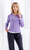 Блуза от меко рипс плетиво в лилав цвят