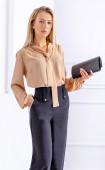 Стилна кафява блуза от жоржет с дълъг ръкав