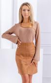 Блуза от меко плетиво с акцент от велур
