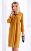 Есенна права рокля с декорация в цвят горчица
