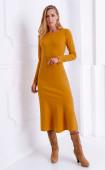 Зимна рокля с харбала в цвят горчица